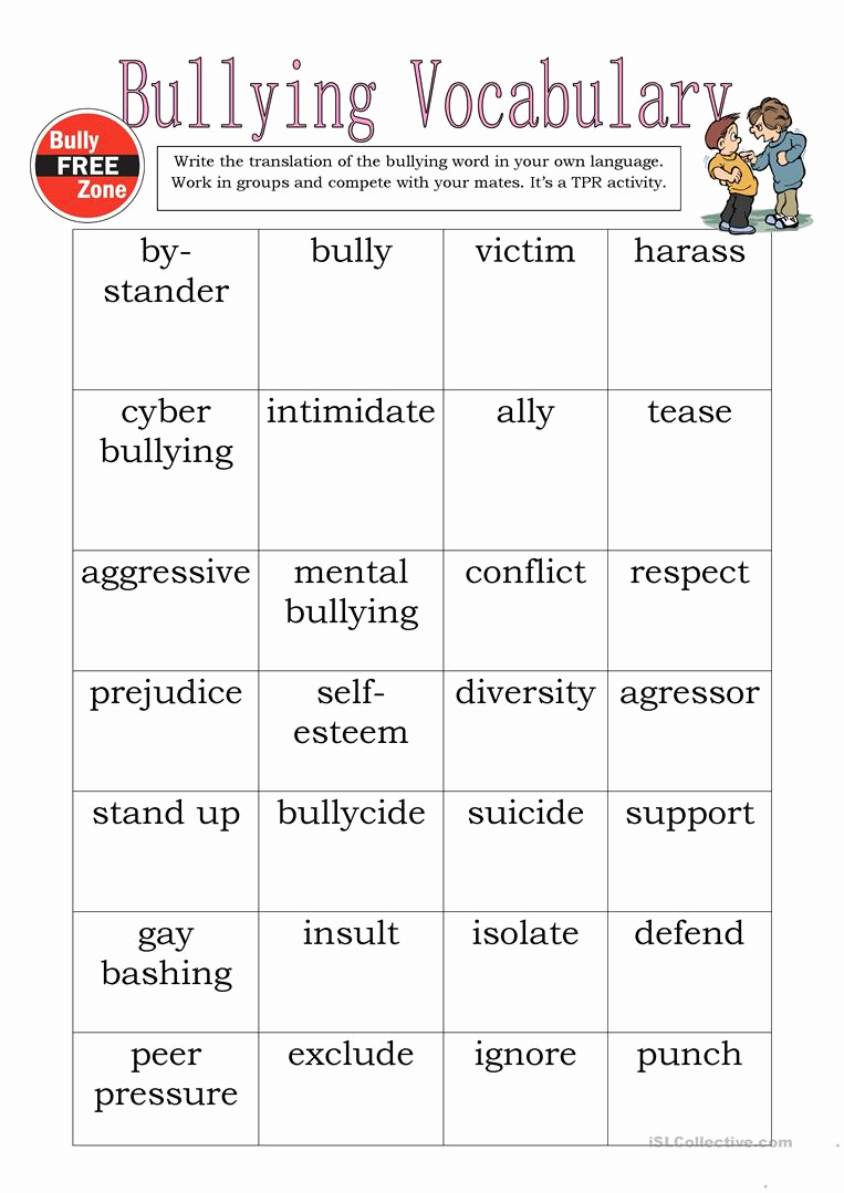 Printable Bullying Worksheets Beautiful Bullying Vocabulary English Esl Worksheets for Distance