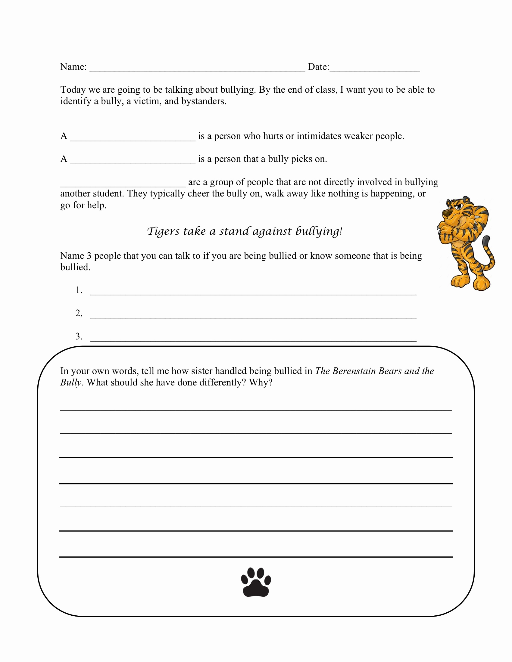 Printable Bullying Worksheets Beautiful Bullying Worksheet to Go Along with the Berenstain Bears