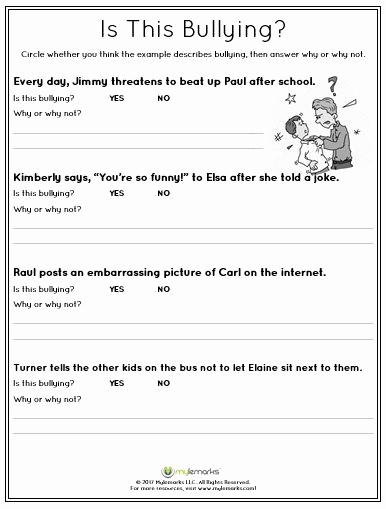 Printable Bullying Worksheets Best Of He Children Identify Bullying Behavior with This Worksheet