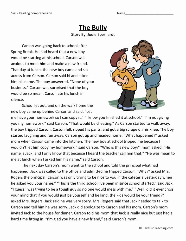 Printable Bullying Worksheets Best Of Reading Prehension Worksheet the Bully