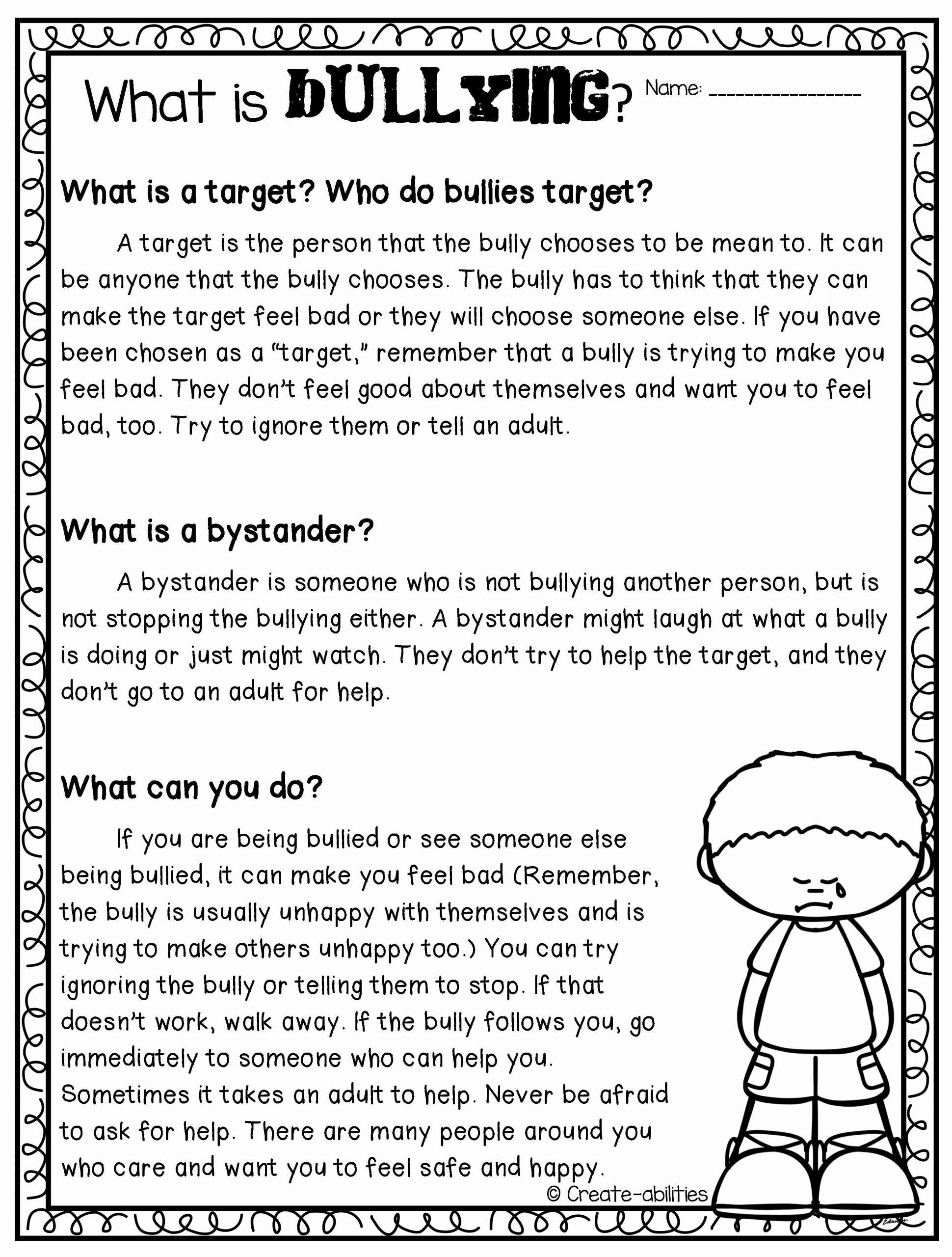 Printable Bullying Worksheets Best Of Types Bullying Worksheet