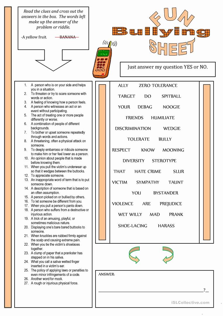 Printable Bullying Worksheets Elegant Funsheet theme Bullying Worksheet Free Esl Printable