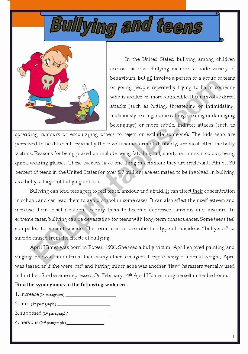 Printable Bullying Worksheets Fresh Bullying and Teens Esl Worksheet by Morganalin