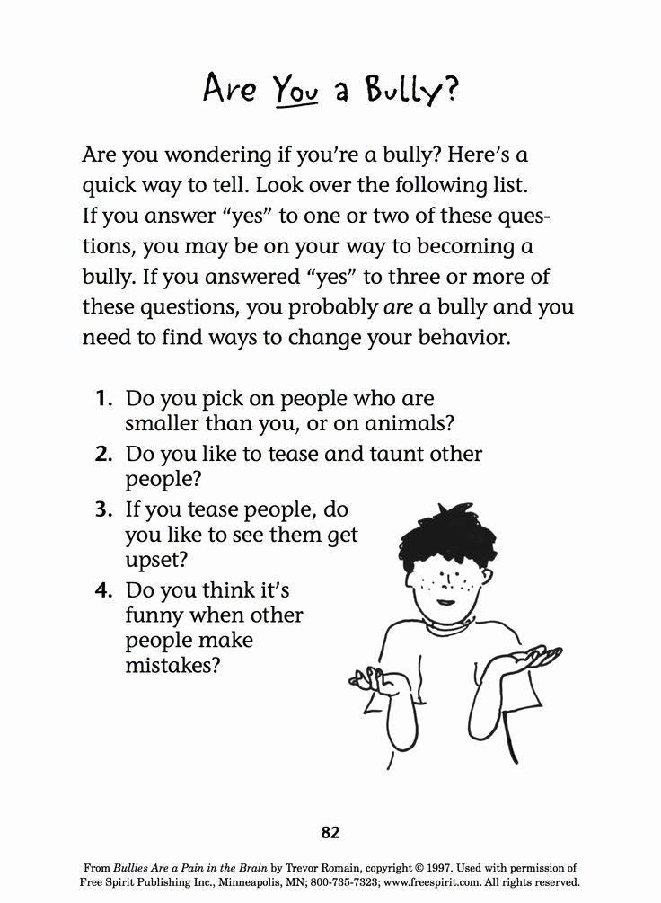 Printable Bullying Worksheets Inspirational Free Bullying Prevention Printable Quiz for Teachers