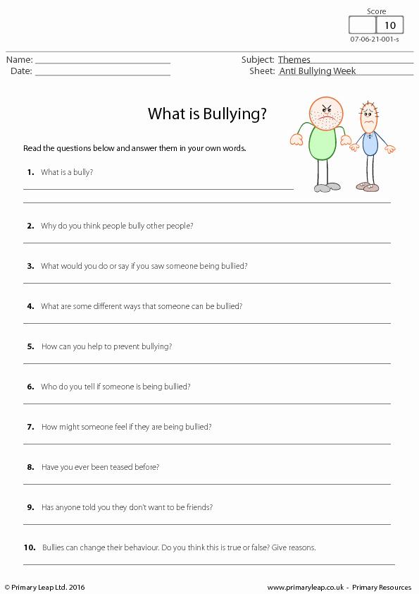 Printable Bullying Worksheets Lovely Worksheet Anti Bullying Week What is Bullying