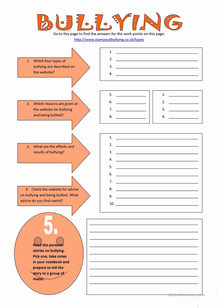 Printable Bullying Worksheets Luxury Bullying English Esl Worksheets for Distance Learning