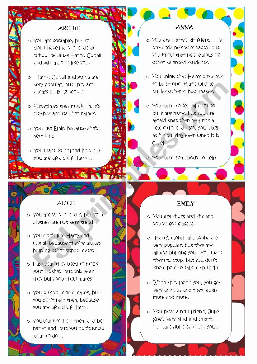 Printable Bullying Worksheets Luxury Bullying Esl Worksheet by Nieves Correa