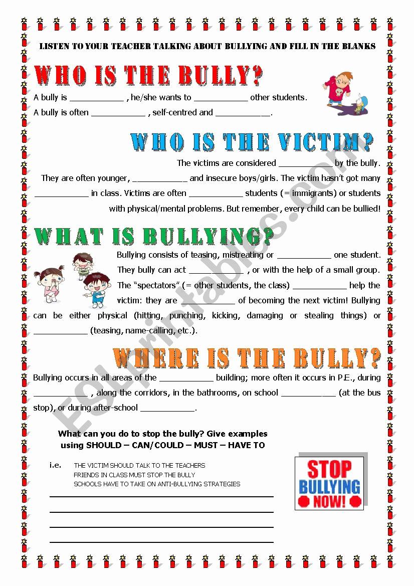 Printable Bullying Worksheets Luxury Key Informaton About Bullying Esl Worksheet by Alex076