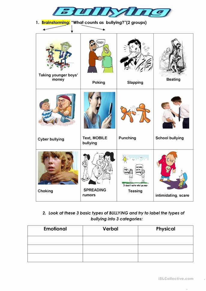 Printable Bullying Worksheets New Bullying Types Worksheet Free Esl Printable Worksheets