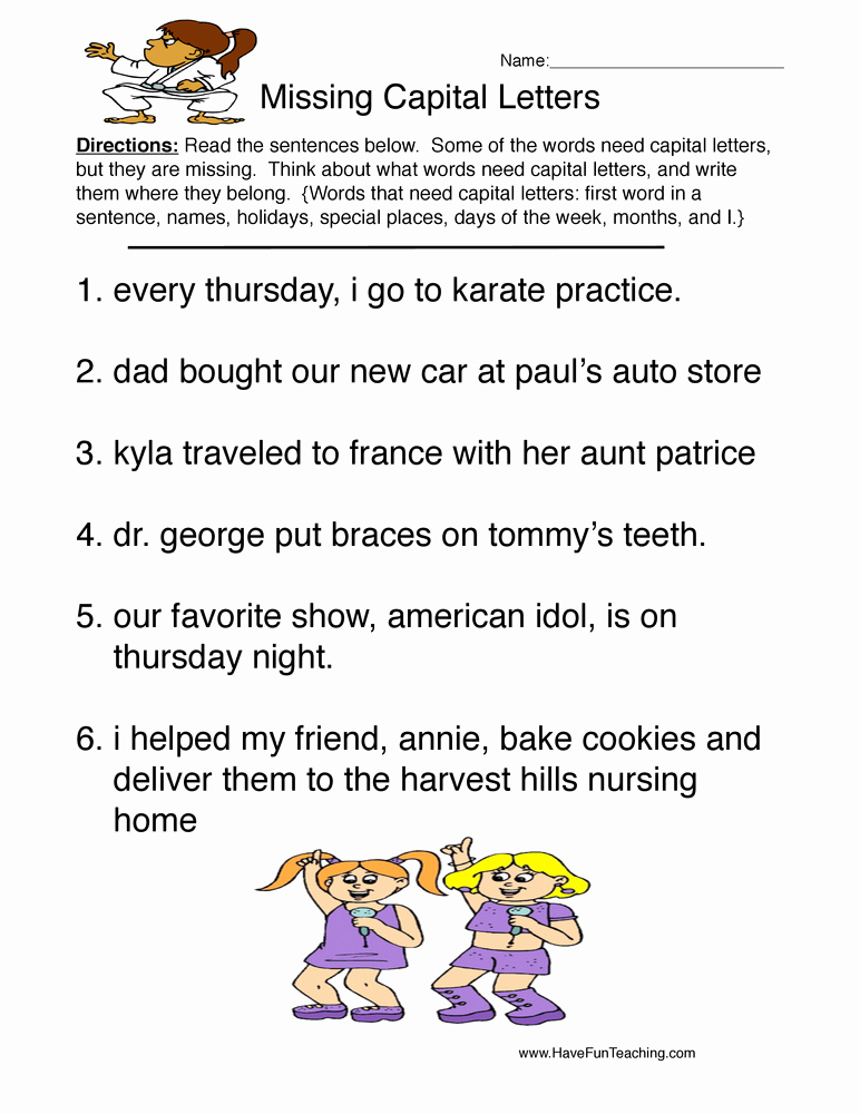 Printable Capitalization Worksheets Awesome English Worksheets Resources