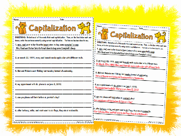 Printable Capitalization Worksheets Best Of Capitalization Worksheet Printable Worksheet with Answer