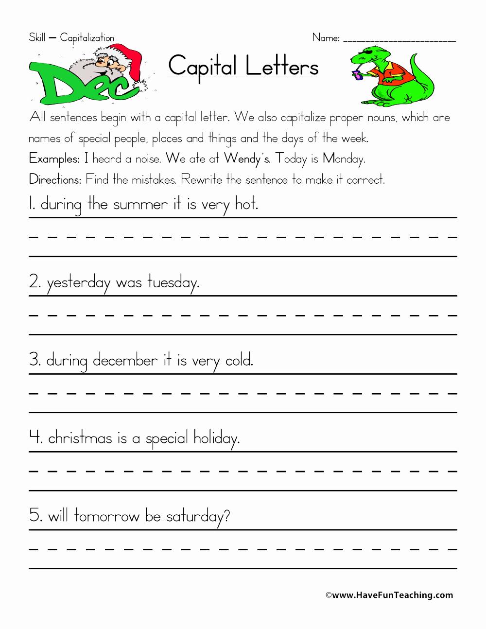 Printable Capitalization Worksheets Elegant Capitalization Worksheet Have Fun Teaching