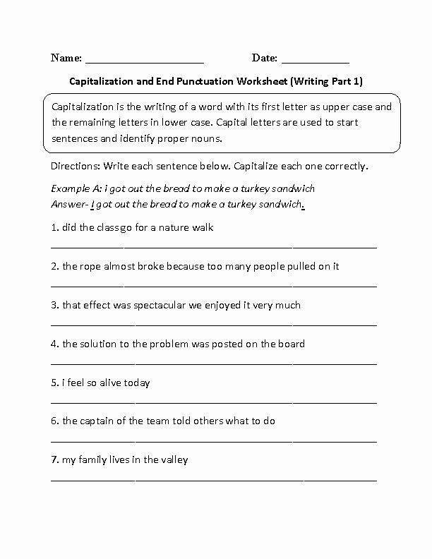Printable Capitalization Worksheets Lovely 12 Best Of Printable Kindergarten Worksheets