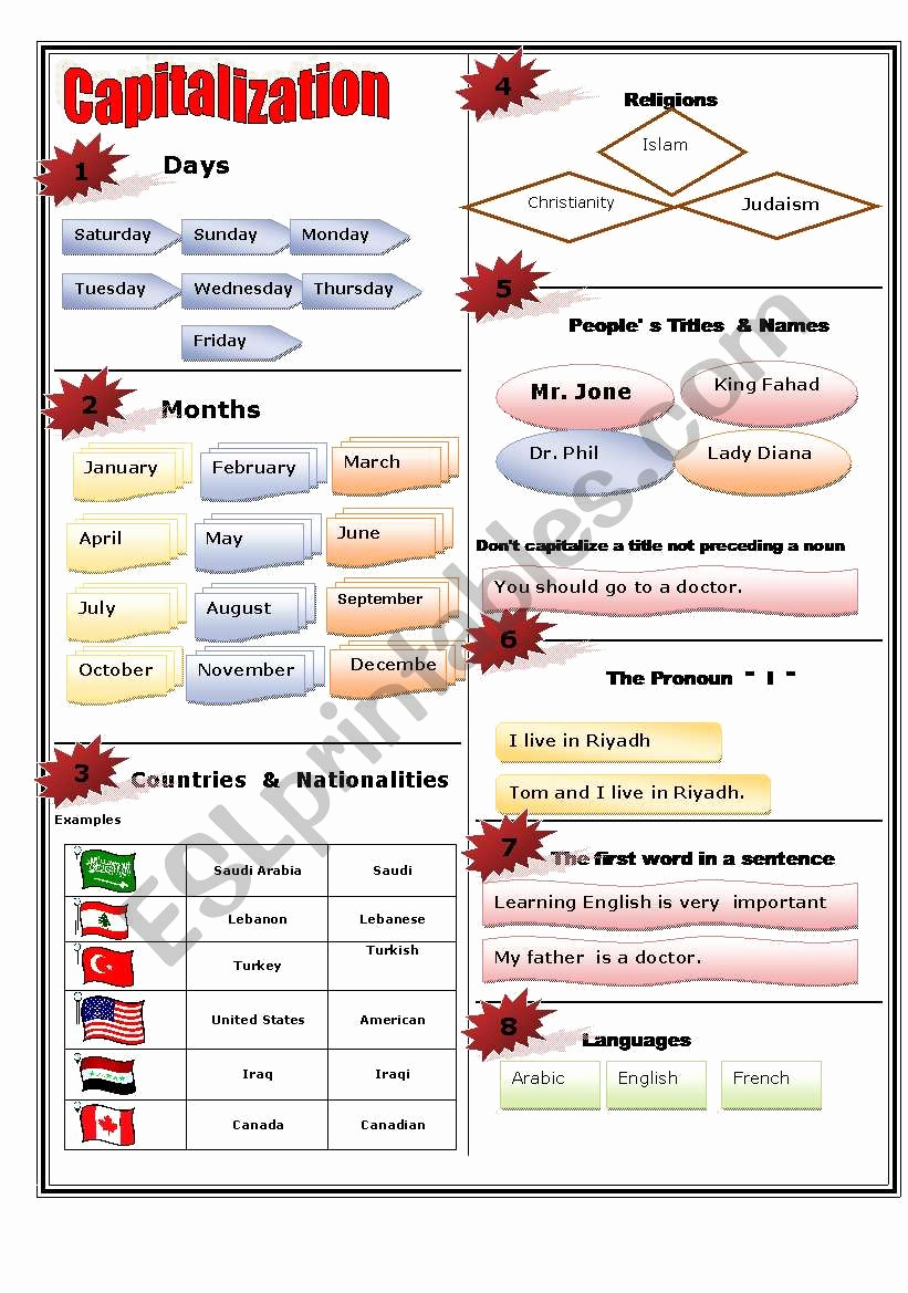 Printable Capitalization Worksheets Lovely Capitalization Rules Esl Worksheet by Yasser&mazen