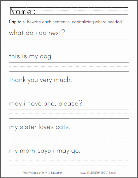 Printable Capitalization Worksheets Lovely Capitalization Worksheet for Kindergarten
