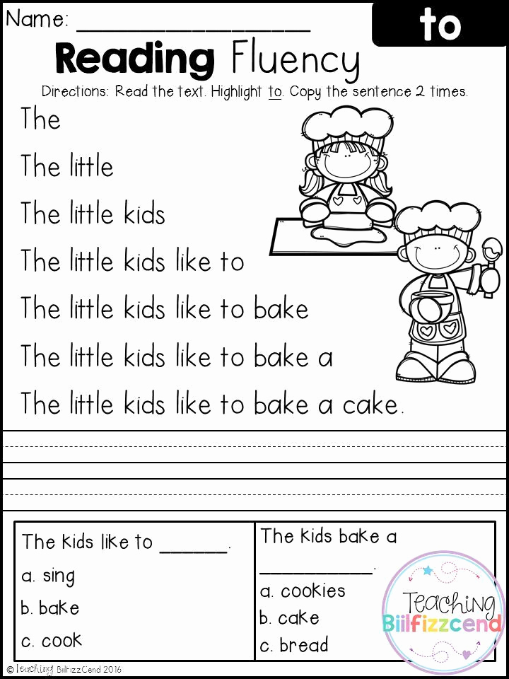Printable First Grade Reading Worksheets Awesome Free Reading Fluency and Prehension Set 2