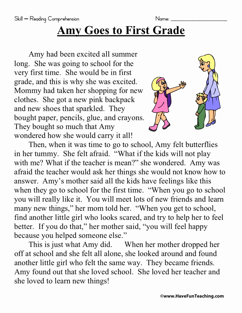Printable First Grade Reading Worksheets Best Of Amy Goes to First Grade Reading Prehension Worksheet