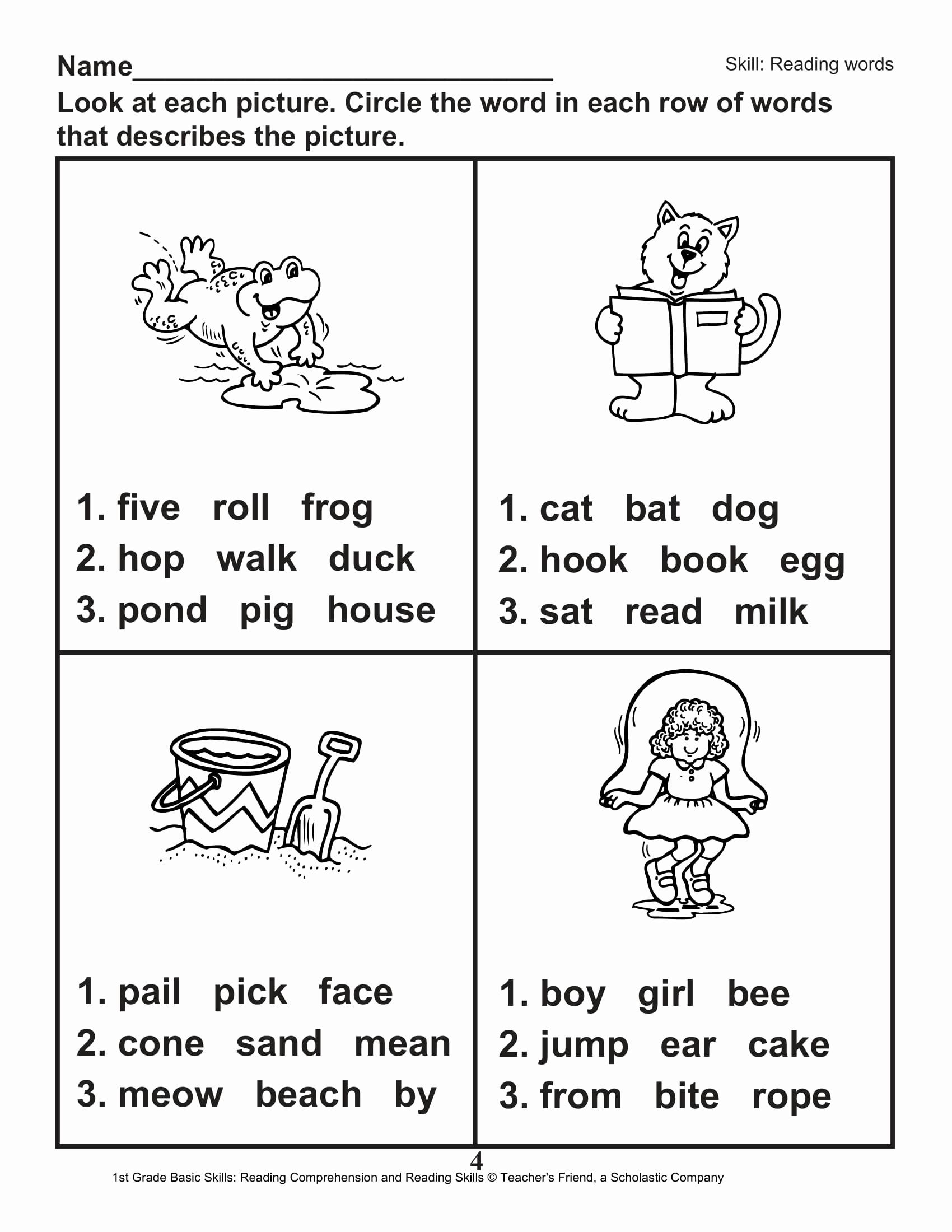 Printable First Grade Reading Worksheets Fresh 40 Scholastic 1st Grade Reading Prehension Skills
