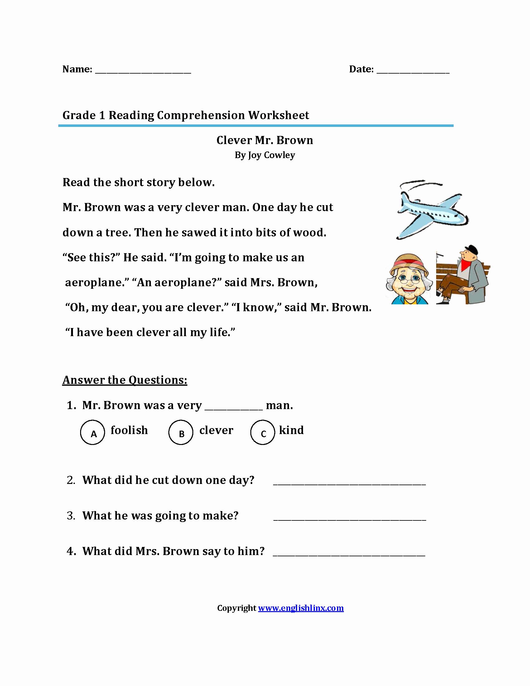Printable First Grade Reading Worksheets Lovely Reading Worksheets