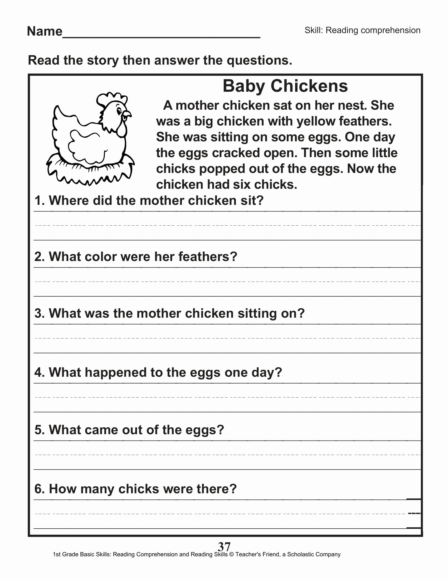 Printable First Grade Reading Worksheets New 40 Scholastic 1st Grade Reading Prehension Skills