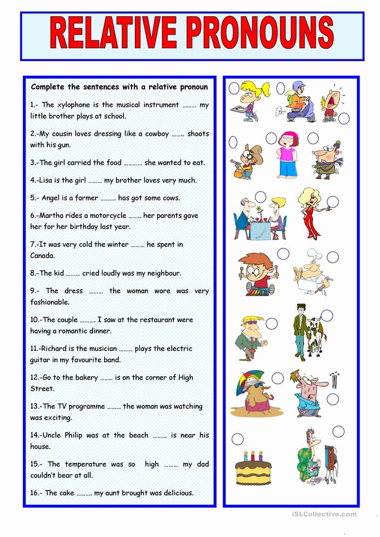 Printable Pronouns Worksheets Beautiful Relative Pronouns Worksheet Free Esl Printable