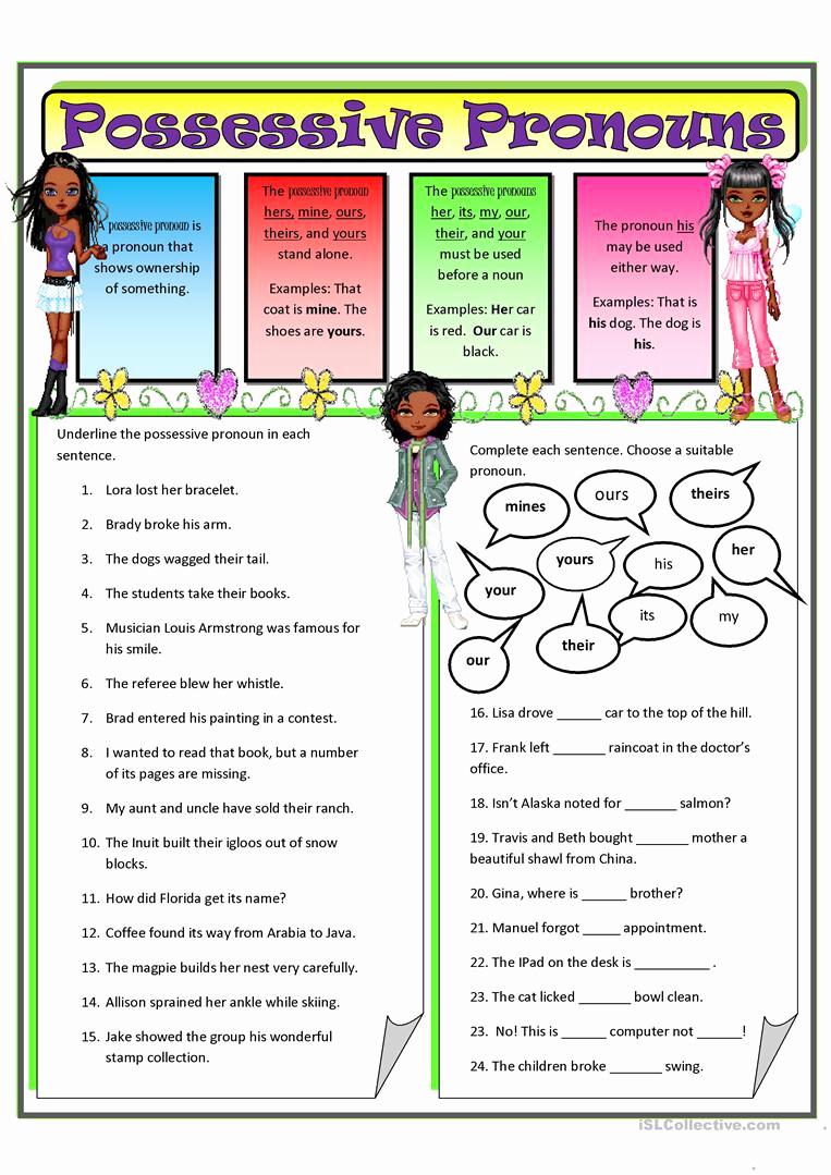 Printable Pronouns Worksheets Elegant Possessive Pronouns 2 Worksheet Free Esl Printable