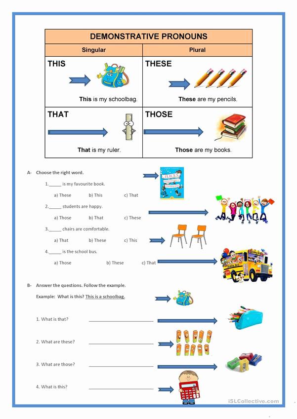 Printable Pronouns Worksheets Fresh Demonstrative Pronouns Worksheet Free Esl Printable