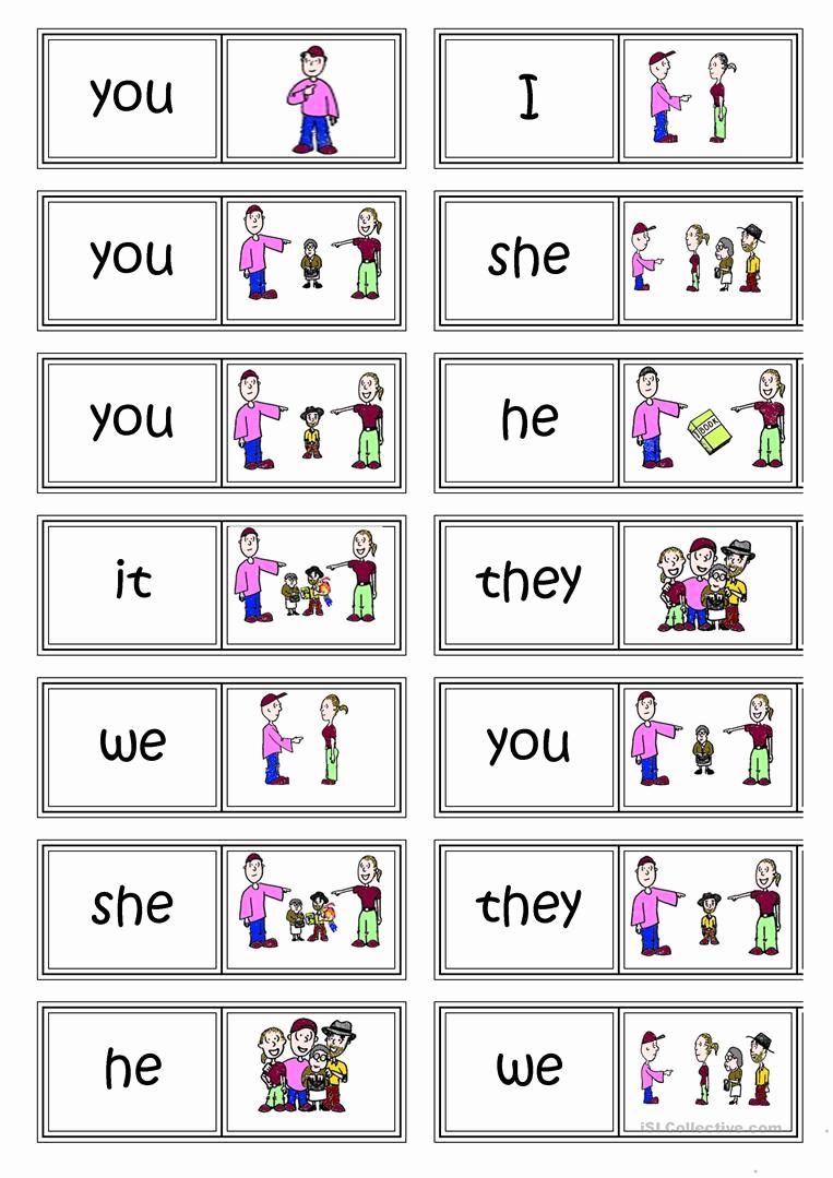 Printable Pronouns Worksheets Fresh Subject Pronouns Domino Worksheet Free Esl Printable