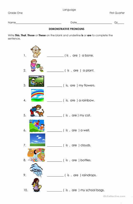 Printable Pronouns Worksheets Inspirational Demonstrative Pronouns Worksheet Free Esl Printable