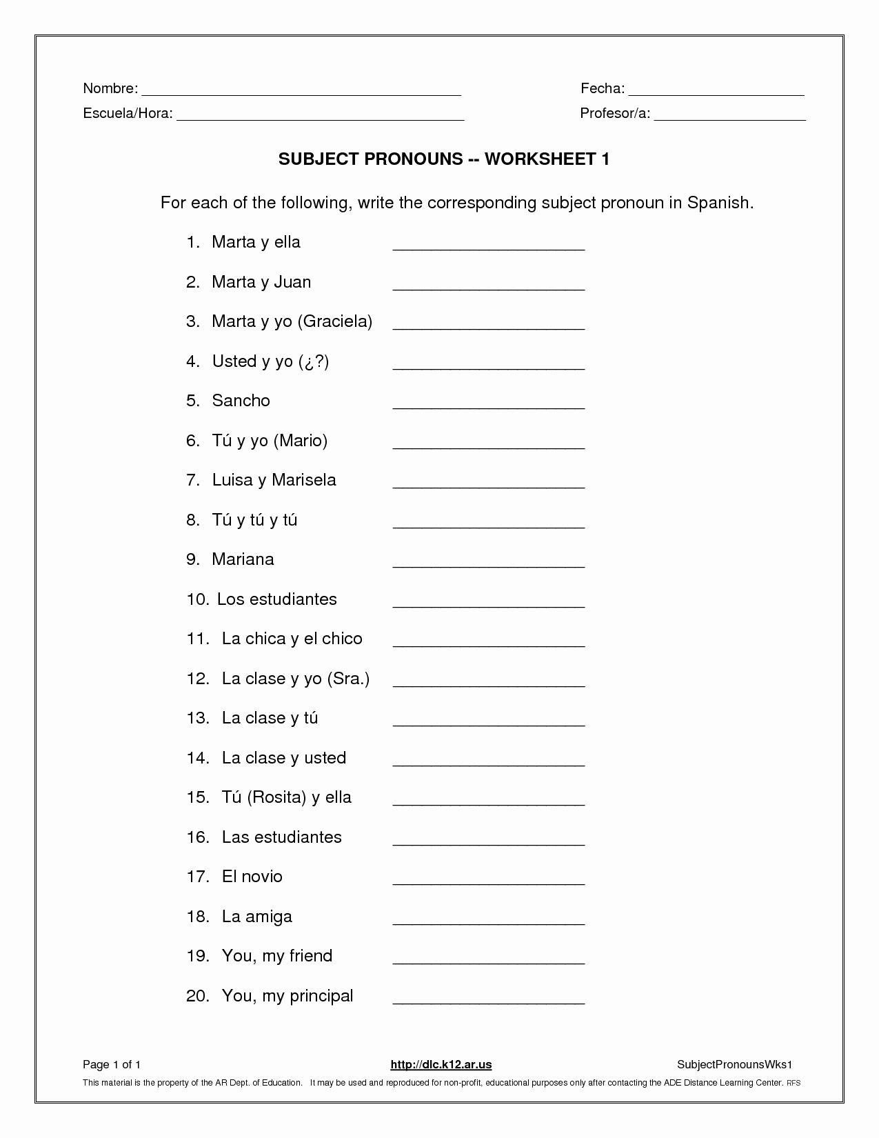 Printable Pronouns Worksheets Unique 13 Best Of Printable Pronoun Worksheets Subject