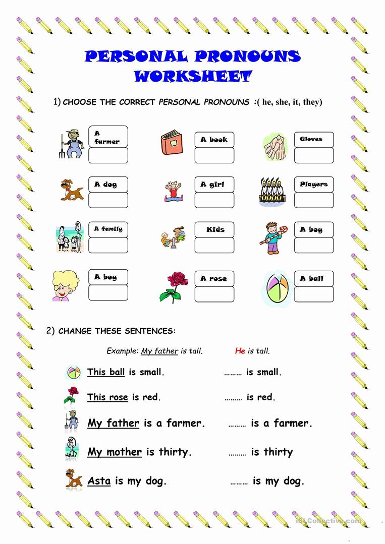 Printable Pronouns Worksheets Unique Personal Pronouns Worksheet Worksheet Free Esl Printable