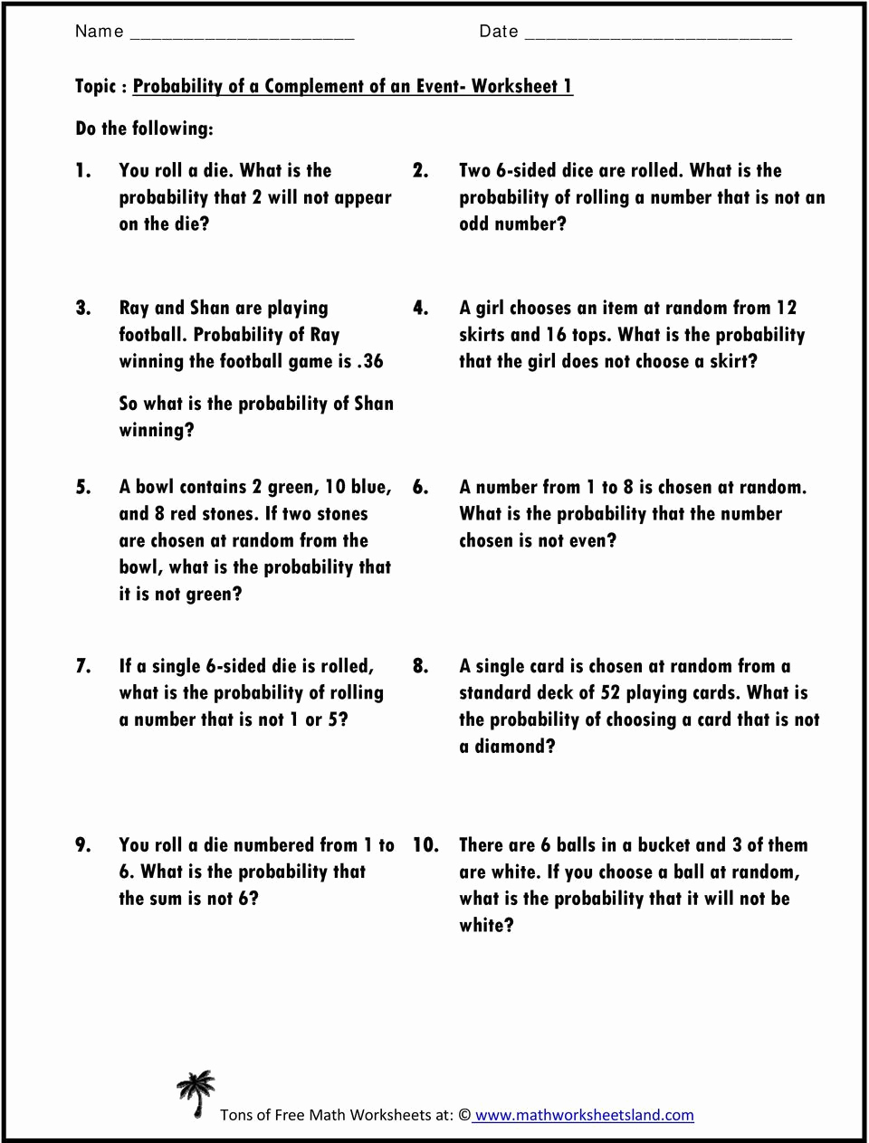 Probability Worksheets High School Pdf Awesome 20 Probability Worksheets High School Pdf
