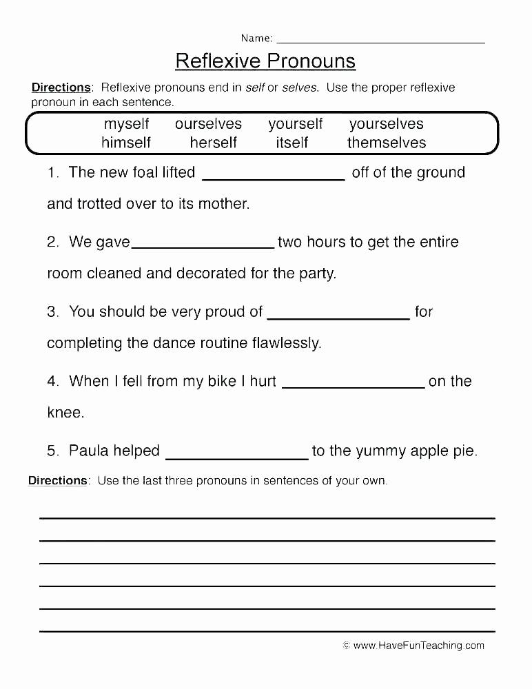 Pronoun Worksheet for 2nd Grade Beautiful Pronoun Worksheets for 2nd Grade Personal and Possessive