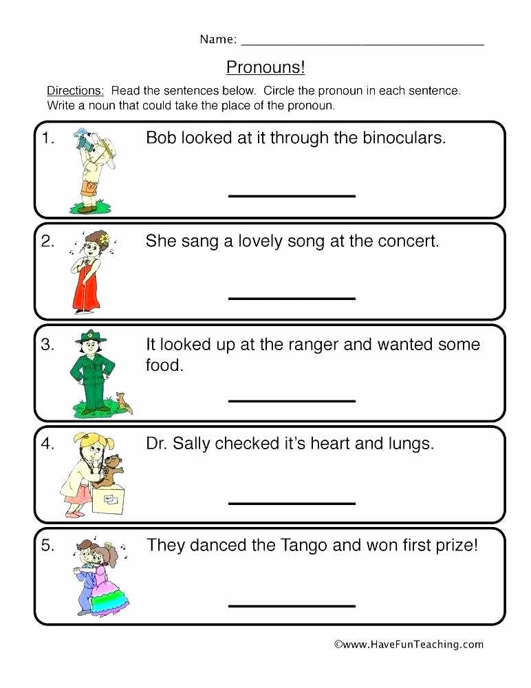 Pronoun Worksheet for 2nd Grade Inspirational 25 Pronoun Worksheet for 2nd Grade