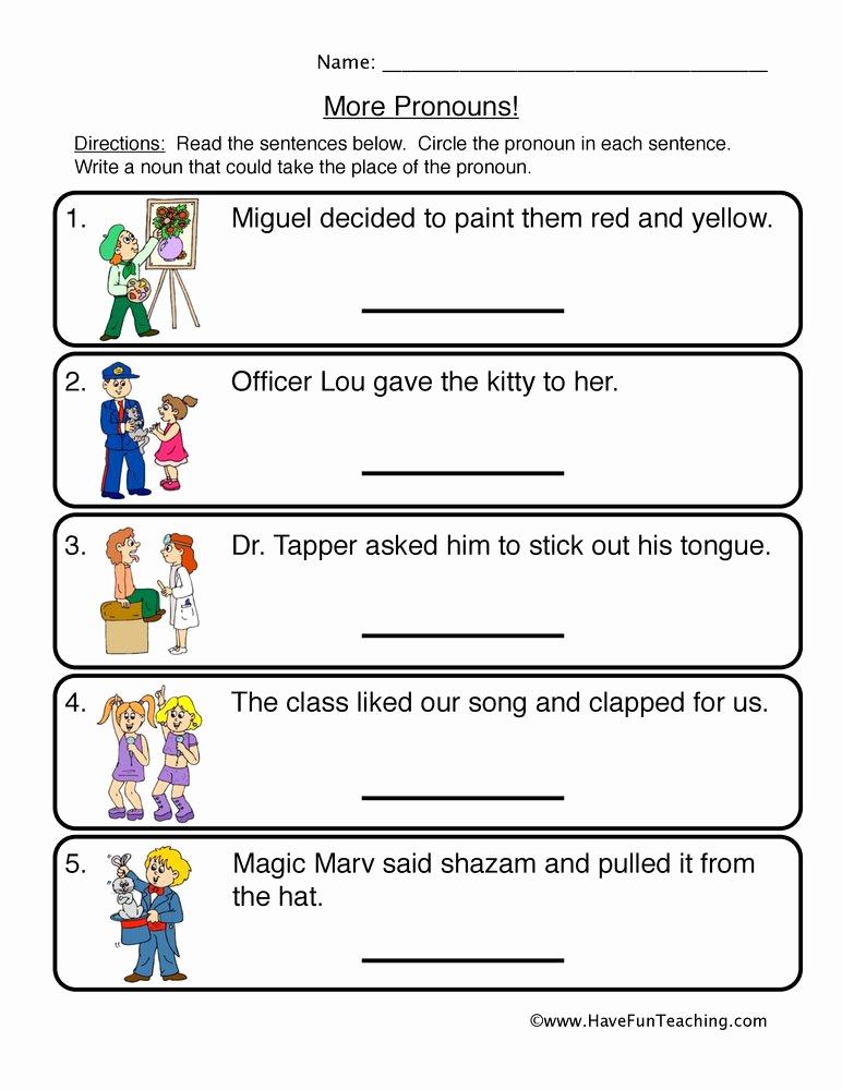 Pronoun Worksheet for 2nd Grade Lovely Subject Pronouns Worksheets 2nd Grade Pronoun Worksheets