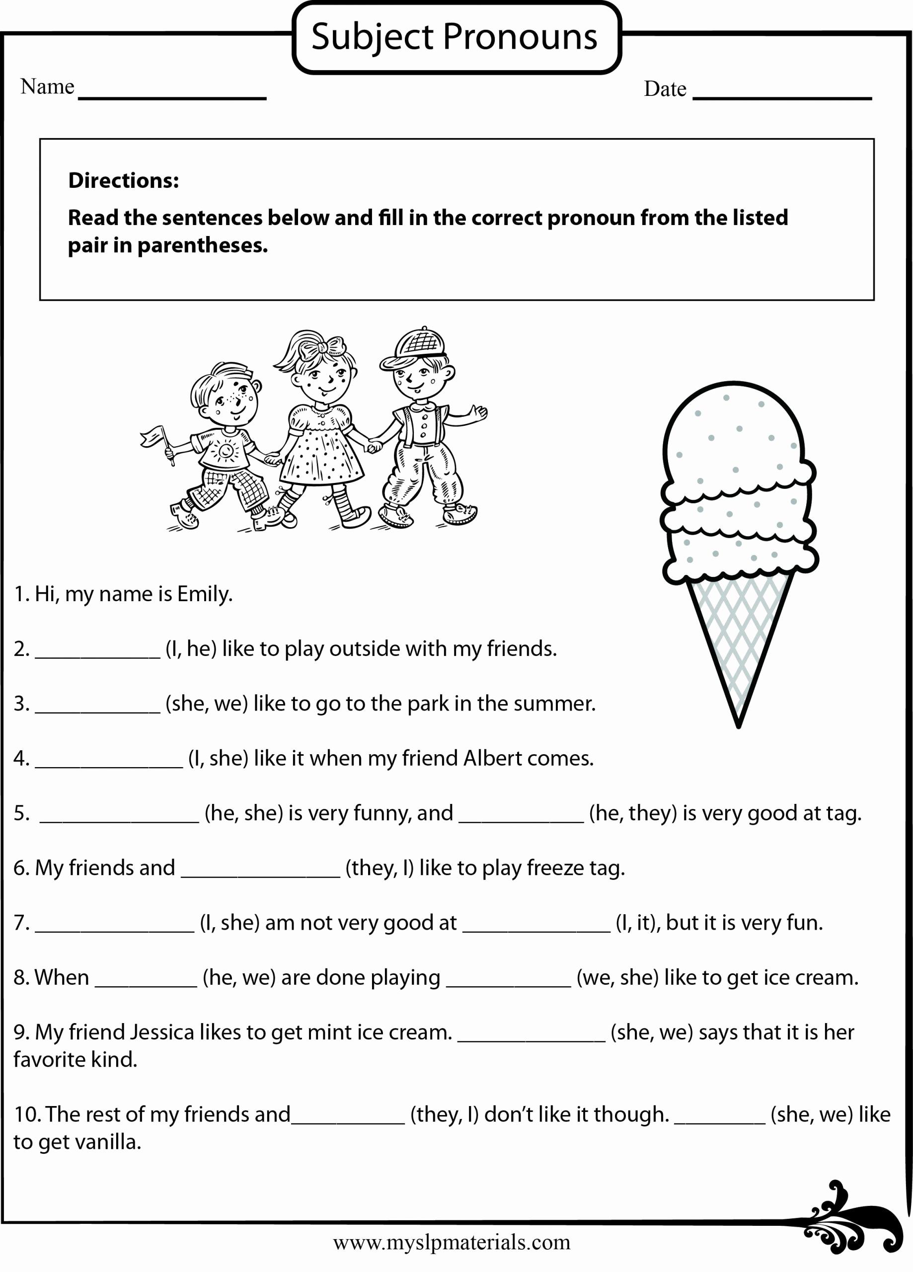 Pronoun Worksheets 2nd Grade Fresh 20 2nd Grade Pronoun Worksheets