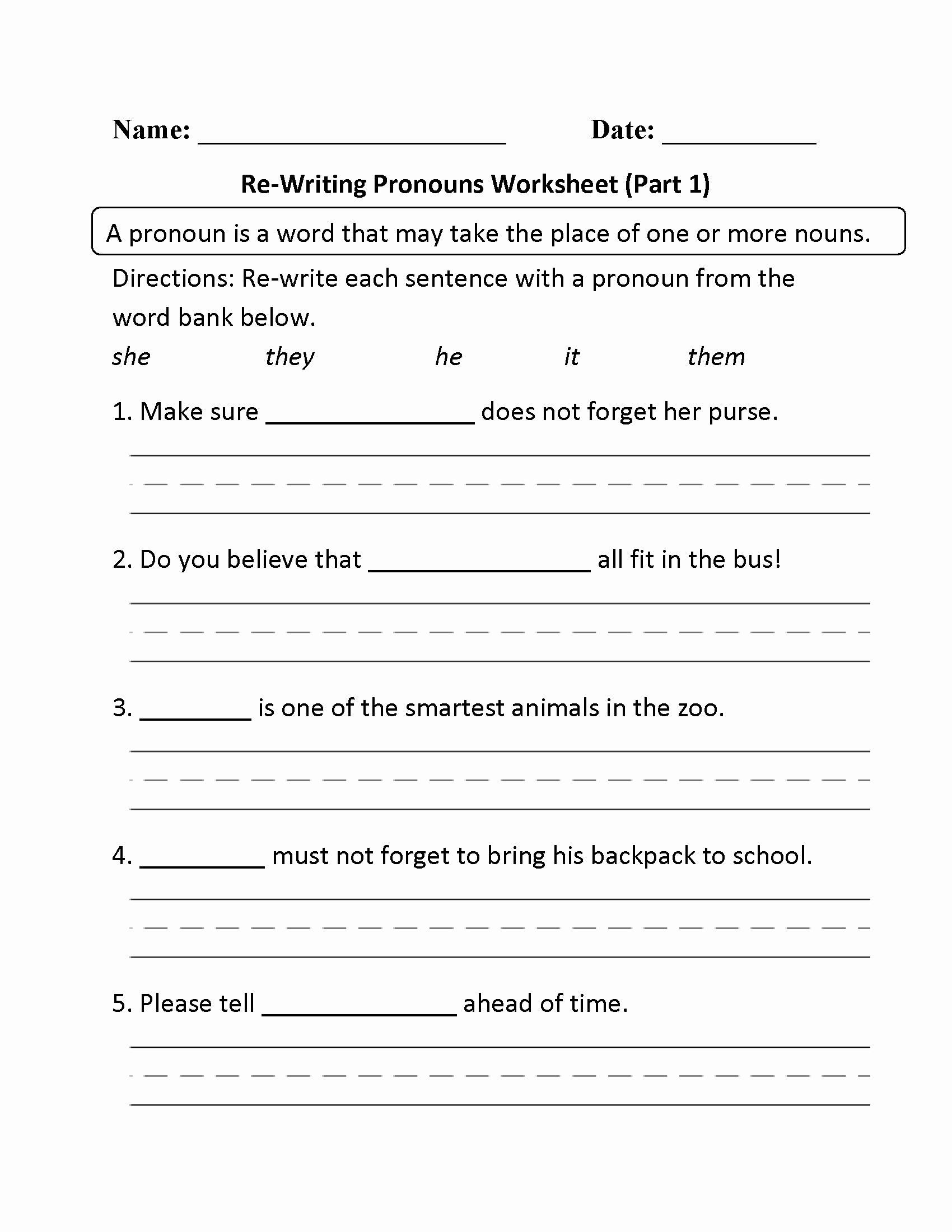 Pronoun Worksheets Second Grade Inspirational Free Printable Pronoun Worksheets for 2nd Grade