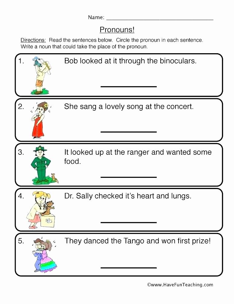 Pronoun Worksheets Second Grade Lovely 25 Pronoun Worksheet for 2nd Grade