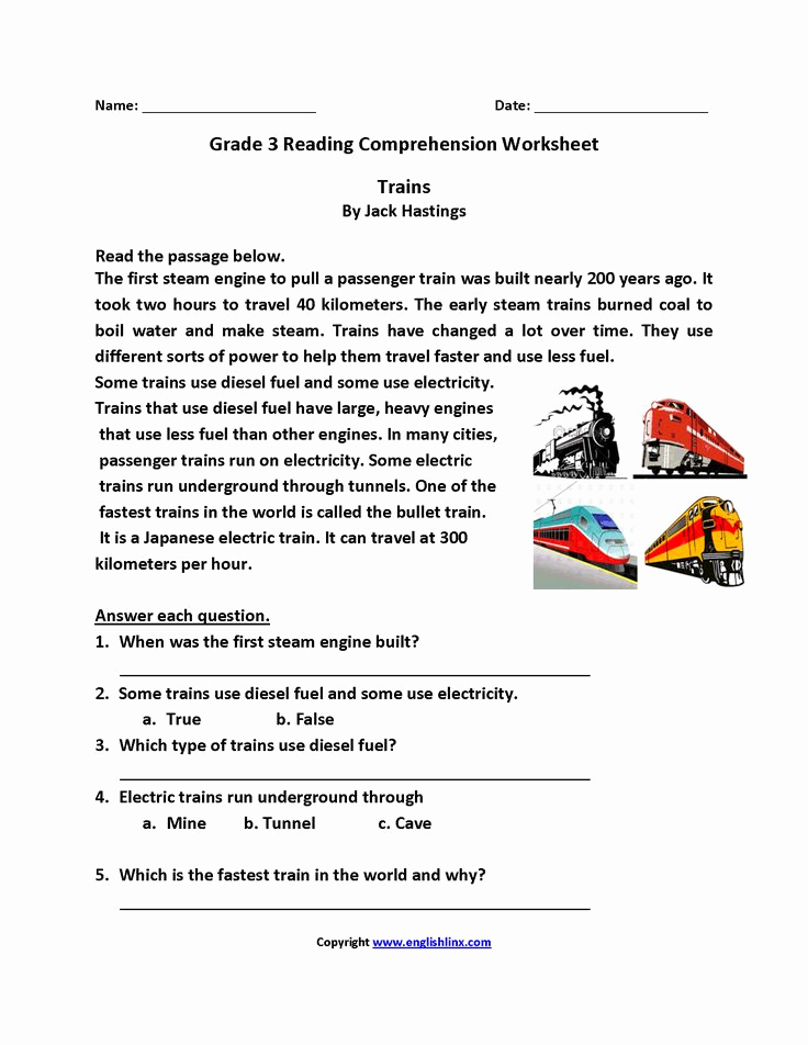 Proofreading Worksheets 3rd Grade Fresh Trains Third Grade Reading Worksheets