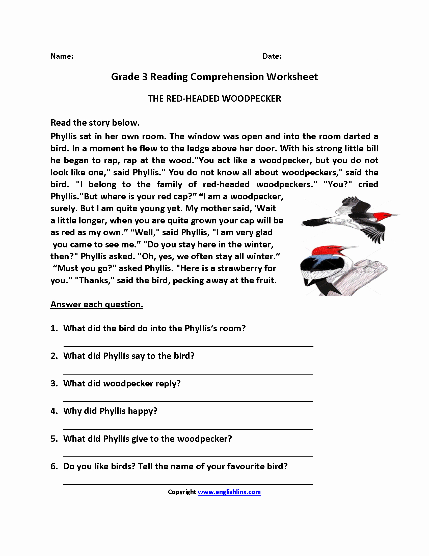 Proofreading Worksheets 3rd Grade Lovely the Redheaded Woodpecker Third Grade Reading Worksheets