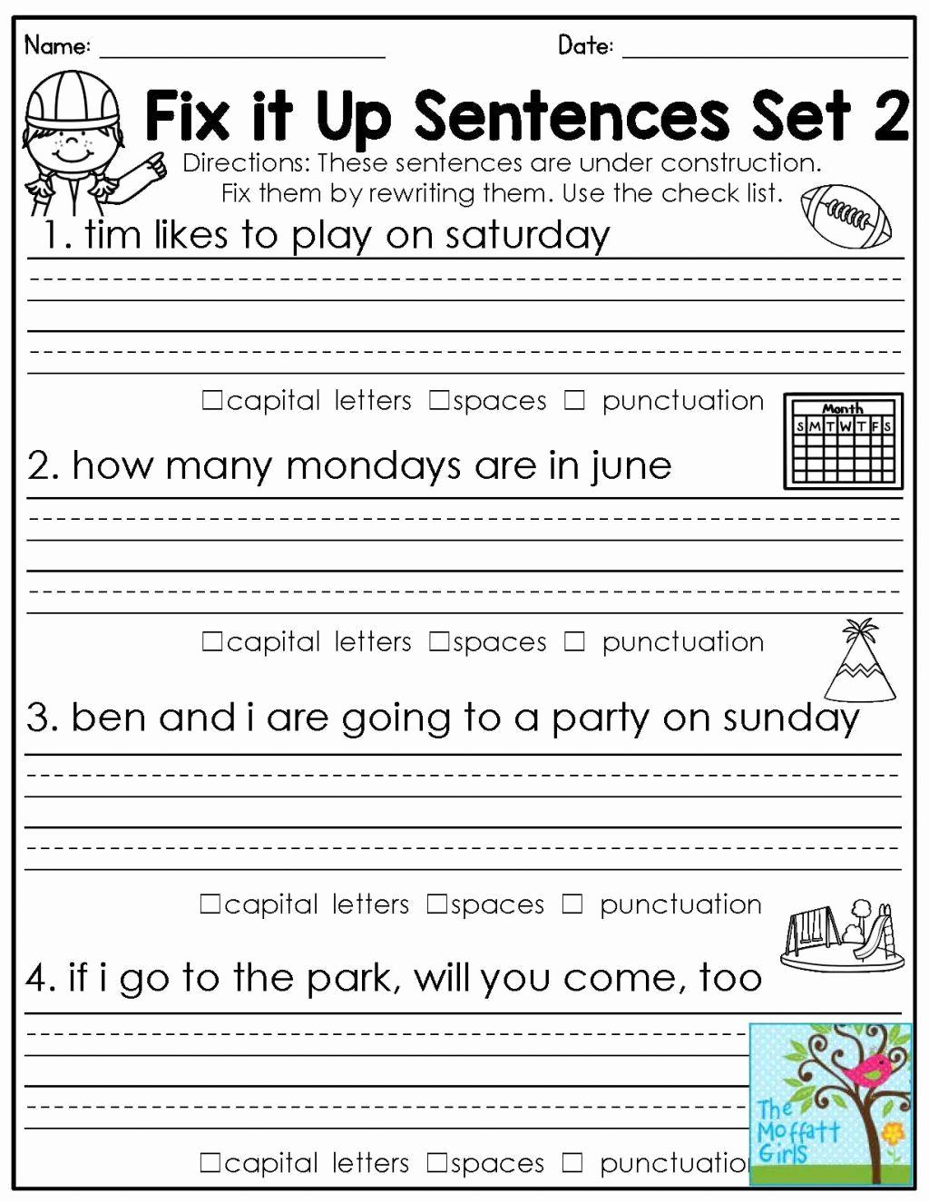 Proofreading Worksheets 3rd Grade Unique 20 Third Grade Grammar Worksheet