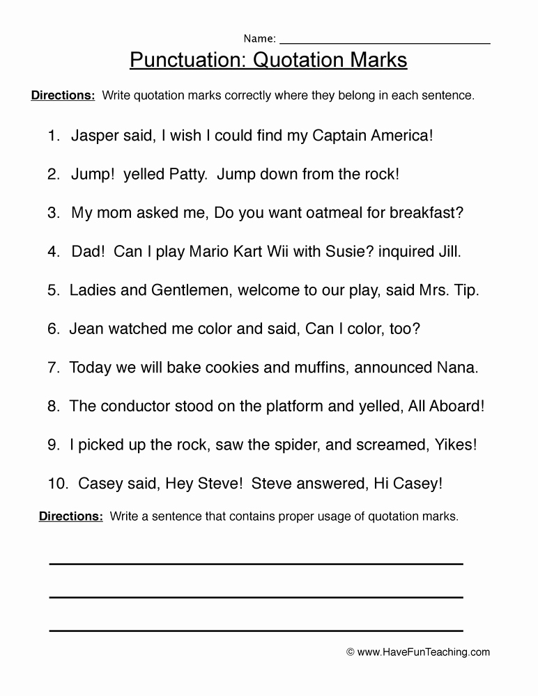 Quotation Worksheets 4th Grade Beautiful Fourth Grade Quotation Marks Worksheets with Answers