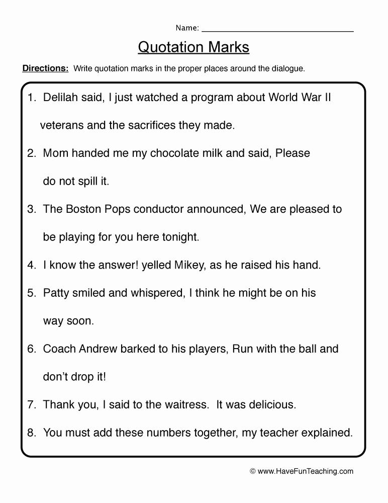 Quotation Worksheets 4th Grade Fresh Quotation Marks Worksheet Fourth Grade Geo Kids
