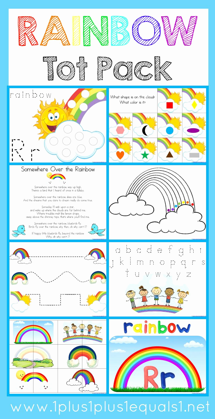 Rainbow Worksheets Preschool Beautiful Rainbow tot Pack