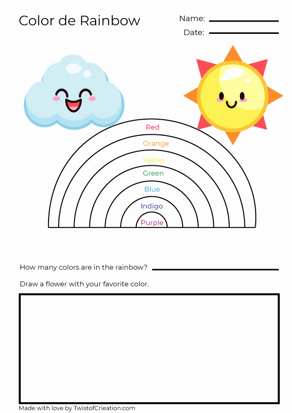 Rainbow Worksheets Preschool Inspirational Rainbow Worksheet for Preschool and Kindergarten – Twist