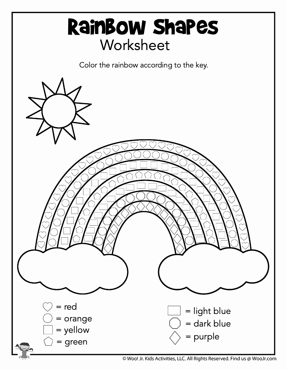 Rainbow Worksheets Preschool New Shape Rainbow Worksheet