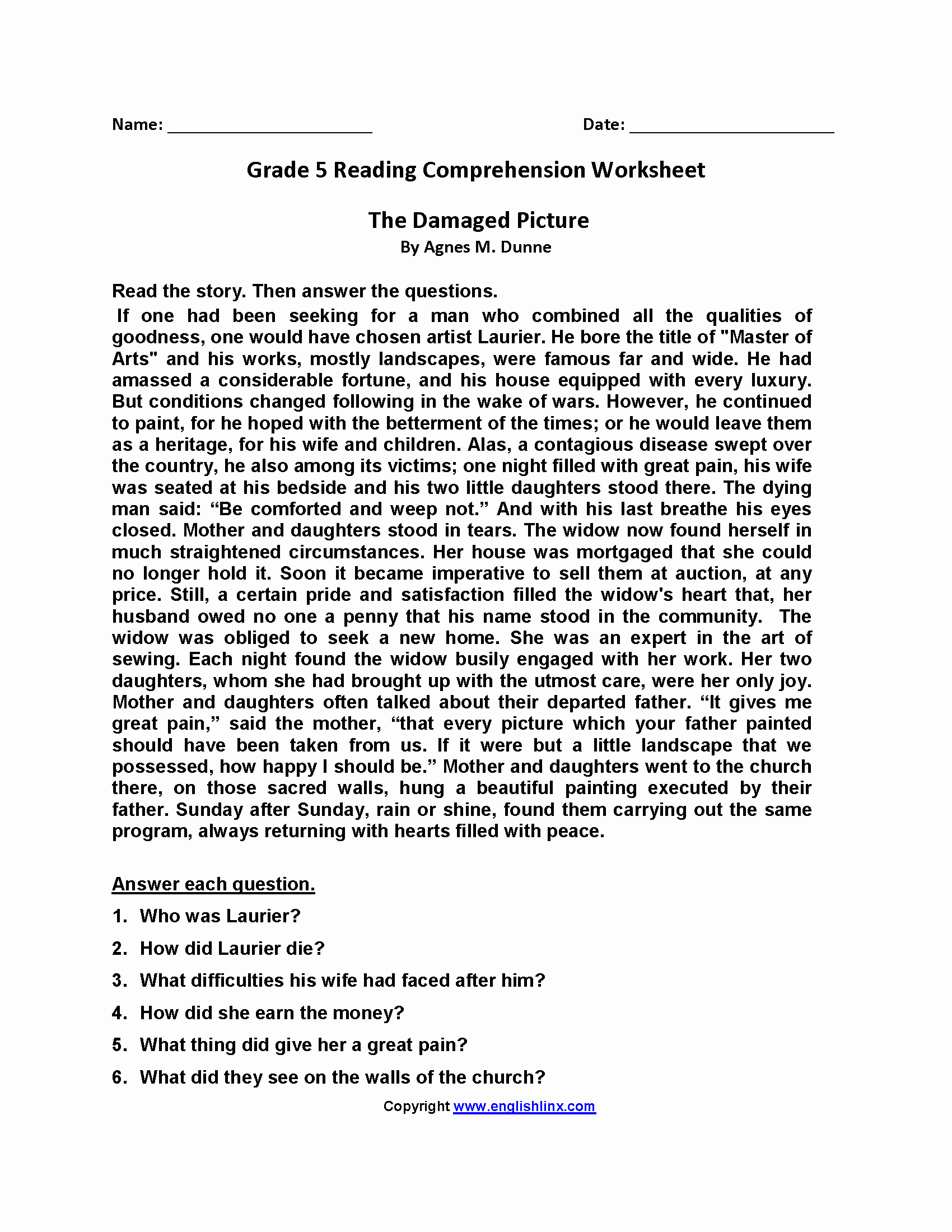 Reading Worksheets 5th Grade Awesome Reading Worksheets