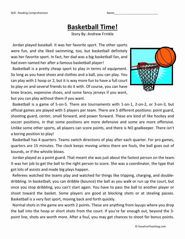 Reading Worksheets 5th Grade Lovely Reading Prehension Worksheet Basketball Time
