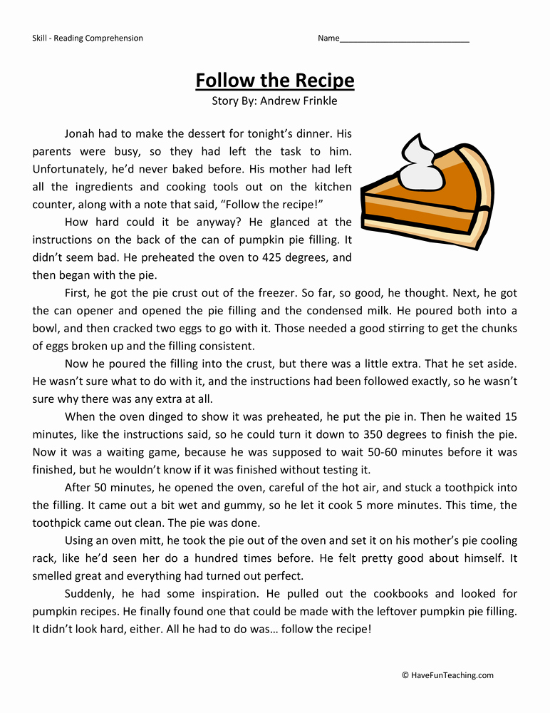 Reading Worksheets 5th Grade Luxury Follow the Recipe Reading Prehension Worksheet