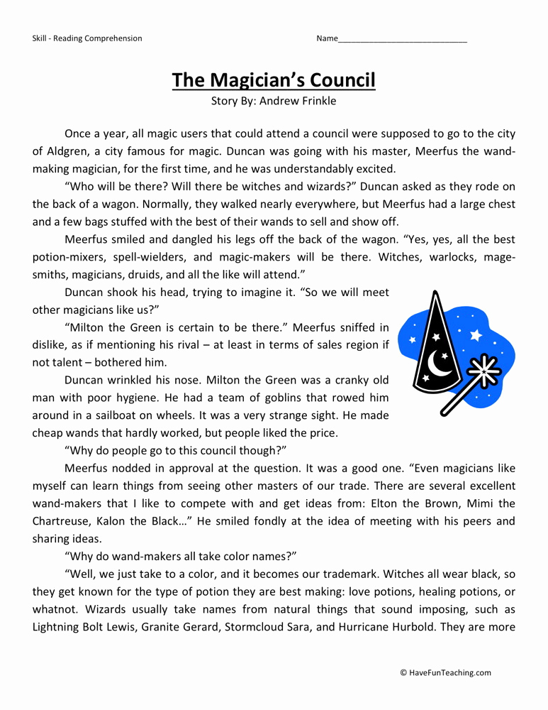 Reading Worksheets 5th Grade New Reading Prehension Worksheet the Magician S Council